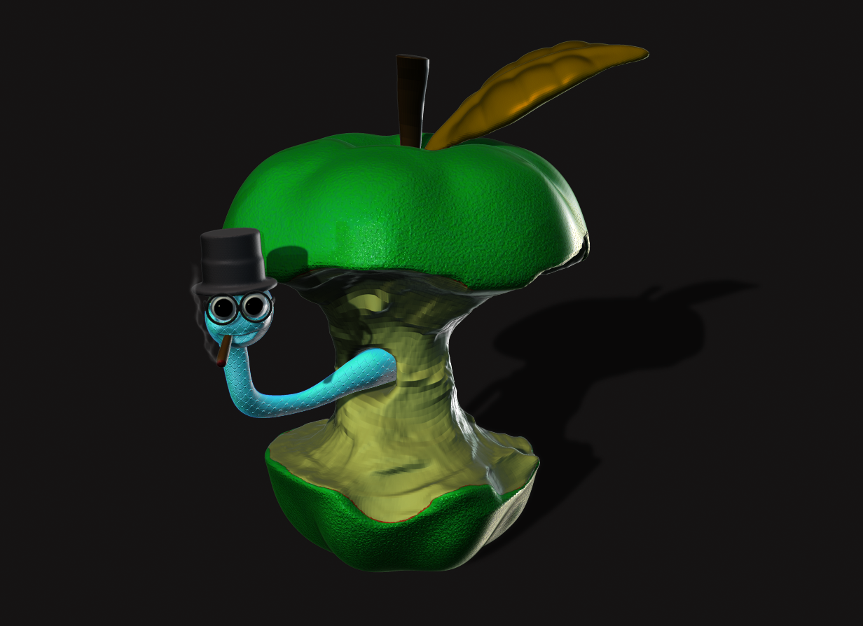 Apple half eaten by a worm. Done in Zbrush Core & Photoshop CC.
