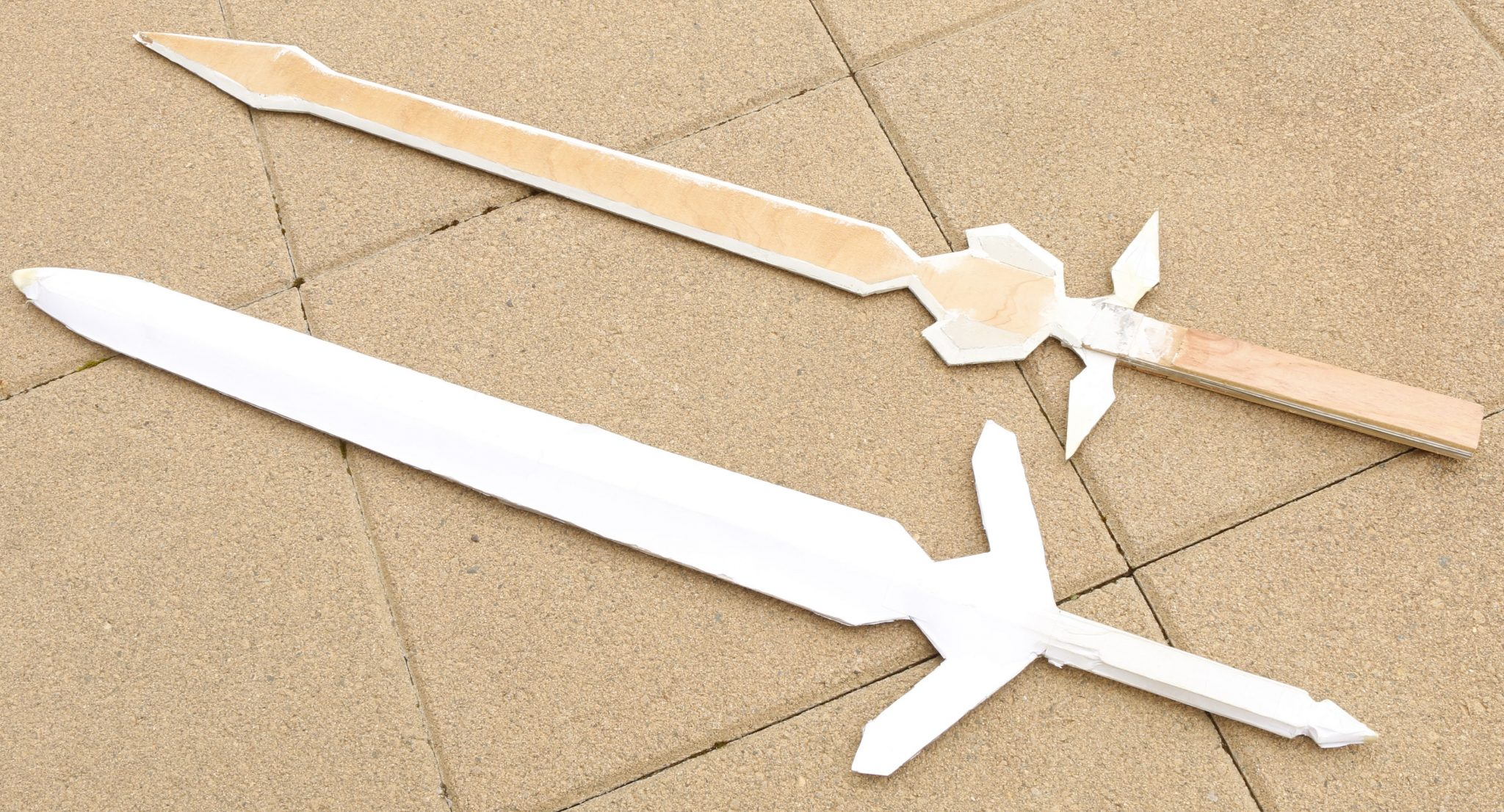 Paper Swords made with card, Popsicle sticks and paper and a hot glue gun