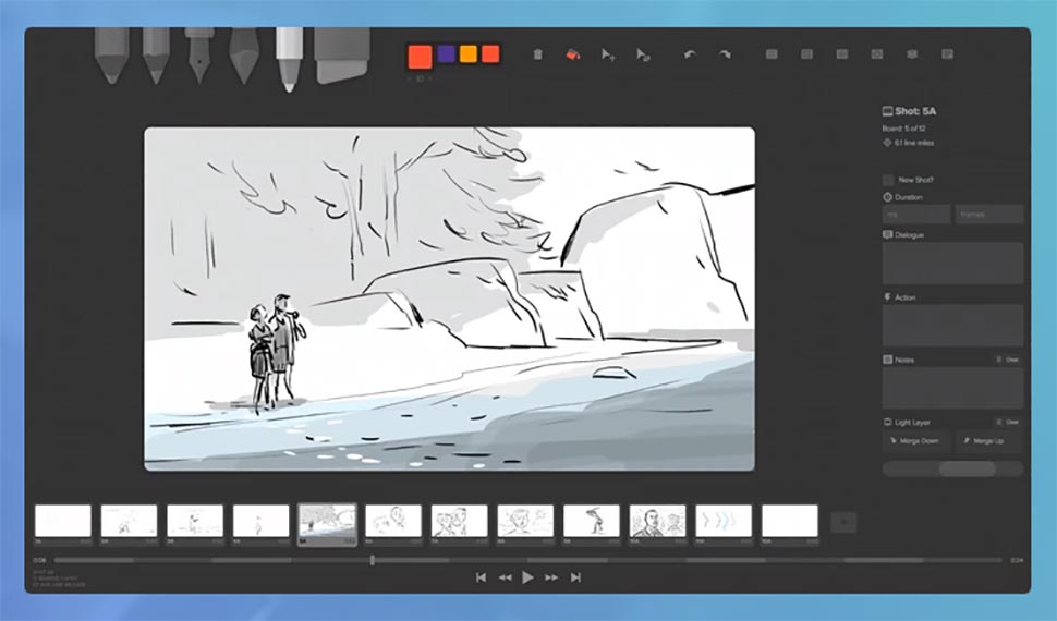 Storyboarder screenshot - a great tool for creatives