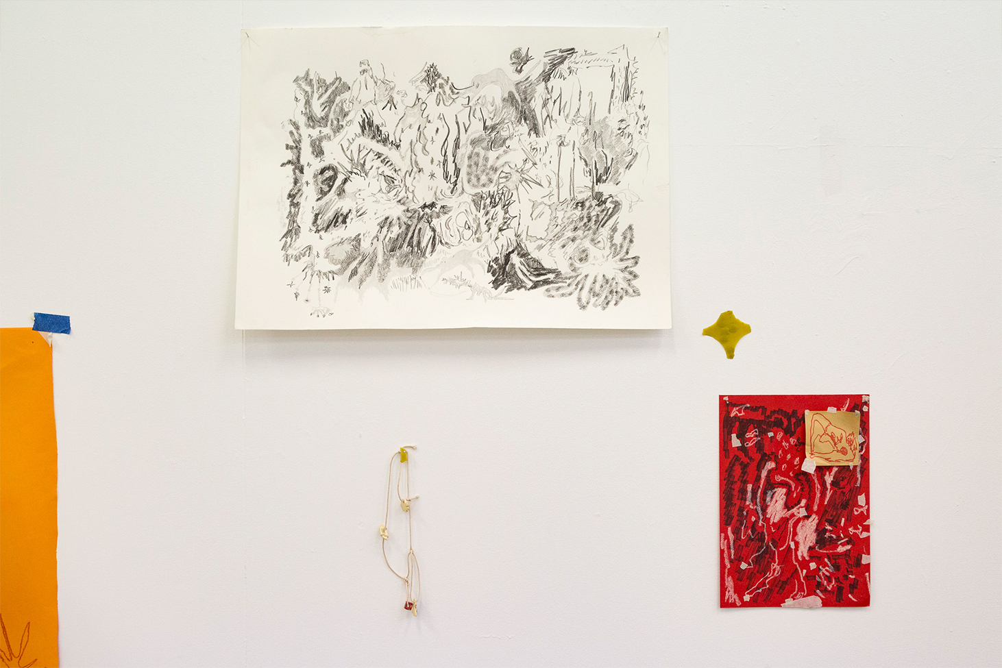 Drawings and ceramic charms as part of Drawn Spaces,  2019.