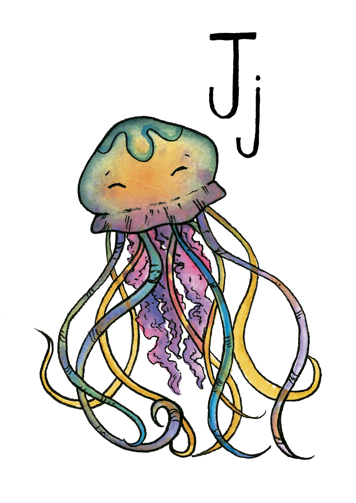 J for Jellyfish - Watercolour and ink